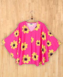 Silverthread Sunflower Print Flared Top - Fuschia Pink