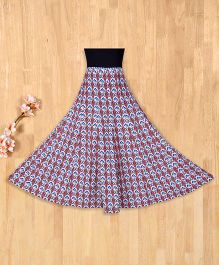 Silverthread Mughal Print Umbrella Skirt -Multicolor