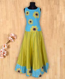 Silverthread Sunflower Printed Top With Bordered Skirt -Blue And Lime