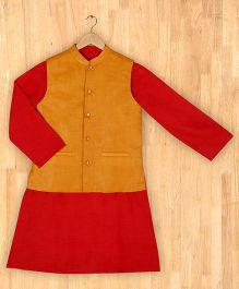 Silverthread Stylish Kurta With Nehru Jacket - Red & Mustard Yellow