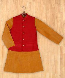 Silverthread Stylish Kurta With Nehru Jacket - Yellow & Red