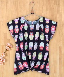 Silverthread Stylish Babushka Doll Print Knotted Top - Black