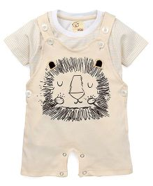 Olio Kids Dungaree Style Romper With T-Shirt Lion Print - Cream