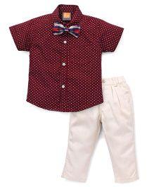 Little Kangaroos Half Sleeves Shirt With Bow And Pants - Maroon Beige