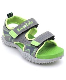 Footfun Sandals With Dual Velcro Closure - Green Grey