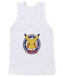 Bodycare Sleeveless Vest Pokemon Pikachu Print - White