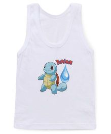 Bodycare Sleeveless Vest Squirtel Pokemon Print - White