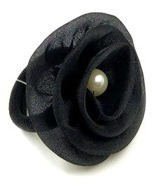 Magic Needles Fancy Rubberband With Tissue Flower - Black