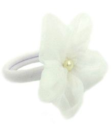 Magic Needles Fancy Rubberband With Net Flower - White