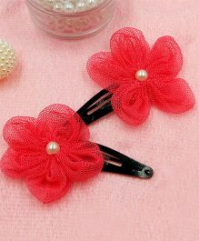 Magic Needles Fancy Triangular Tic Tac Hair Clips With Net Flower - Coral Red