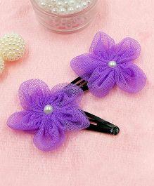 Magic Needles Fancy Triangular Tic Tac Hair Clips With Net Flower - Purple