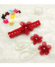 Magic Needles Handmade Cute Pearl Net Flower Barefoot & Hairband - Red