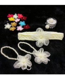 Magic Needles Handmade Cute Pearl Net Flower Barefoot & Hairband - Cream