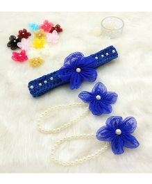 Magic Needles Handmade Cute Pearl Net Flower Barefoot & Hairband - Dark Blue