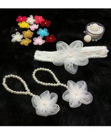 Magic Needles Handmade Cute Pearl Net Flower Barefoot & Hairband - White