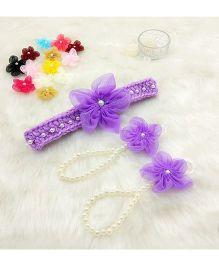 Magic Needles Handmade Cute Pearl Net Flower Barefoot & Hairband - Purple