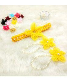 Magic Needles Handmade Cute Pearl Net Flower Barefoot & Hairband - Yellow