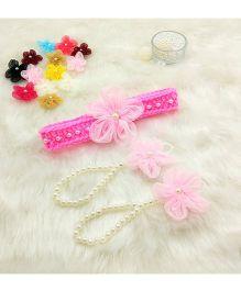 Magic Needles Handmade Cute Pearl Net Flower Barefoot & Hairband - Baby Pink