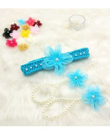Magic Needles Handmade Cute Pearl Net Flower Barefoot & Hairband - Light Blue