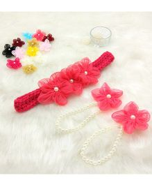 Magic Needles Handmade Cute Pearl Net Flower Barefoot & Hairband - Coral Red