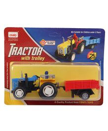 Centy Tractor With Trolley Toy - Blue And Red