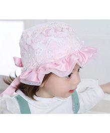 Princess Cart Lace Pearl Sun Cap - Baby Pink