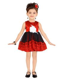 Littleopia Sleeveless Party Frock Floral Applique - Red