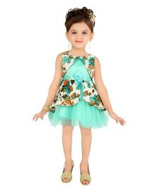 Littleopia Sleeveless Party Frock Floral Applique - Sea Green