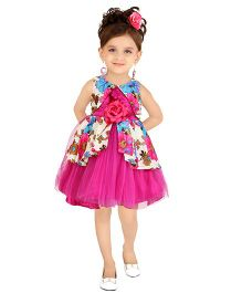 Littleopia Sleeveless Party Frock Floral Applique - Fuchsia
