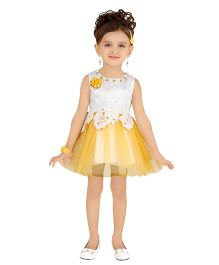 Littleopia Sleeveless Party Frock Floral Applique & Lace - Dark Yellow