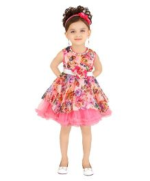 Littleopia Sleeveless Party Frock Floral Applique & Print - Pink