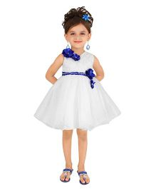 Littleopia Sleeveless Party Frock Floral Applique - White Blue
