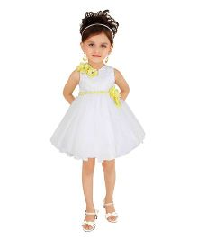 Littleopia Sleeveless Party Frock Floral Applique - White Yellow