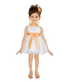 Littleopia Sleeveless Party Frock Ribbon Bow - White & Orange