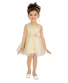 Littleopia Sleeveless Party Wear Dress With Sequins And Floral Applique - Beige