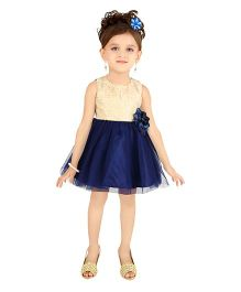 Littleopia Sleeveless Party Wear Dress With Sequins And Floral Applique - Navy Blue