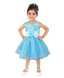 Littleopia Sleeveless Party Wear Dress With Floral Applique - Light Blue