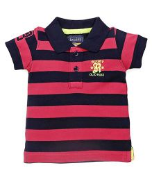Olio Kids Half Sleeves Tee Rugby Patch - Pink & Navy