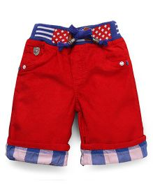 Olio Kids Three Fourth Pants With Drawstring - Red