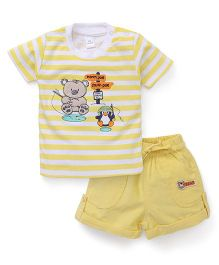 Olio Kids Half Sleeves Striped T-Shirt And Shorts Bear Embroidery - Yellow
