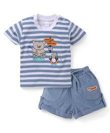 Olio Kids Half Sleeves Striped T-Shirt And Shorts Bear Embroidery - Bluish Grey