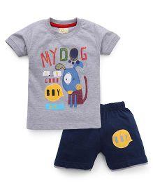 Olio Kids Half Sleeves T-Shirt And Shorts - Grey & Navy Blue