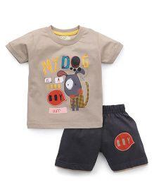 Olio Kids Half Sleeves T-Shirt And Shorts - Beige & Grey