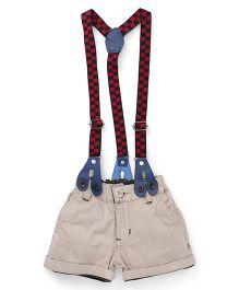 Olio Kids Shorts With Checks Suspenders - Cream