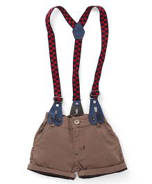 Olio Kids Shorts With Checks Suspenders - Brown
