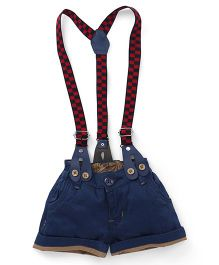 Olio Kids Shorts With Checks Suspenders - Blue