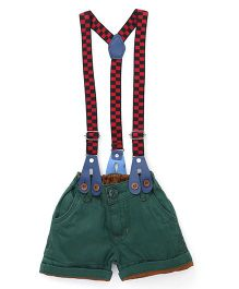 Olio Kids Shorts With Checks Suspenders - Green