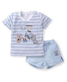Olio Kids Half Sleeves Striped T-Shirt And Shorts Animal Embroidery - Light Blue