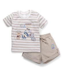 Olio Kids Half Sleeves Striped T-Shirt And Shorts Animal Embroidery - Beige