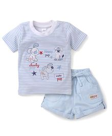Olio Kids Half Sleeves Striped T-Shirt And Shorts Pup Embroidery - Light Blue